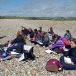 Year 7 group at Cuckmere Haven Beach.