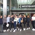 Year 10 Geography Group at Calshot outside Westquay Shopping Centre.