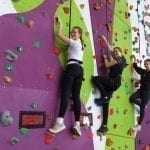 Year 10 Geography Students on a Climbing Wall at Calshot Activities Centre.